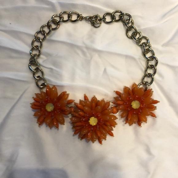 Big floral Orange Bib Necklace